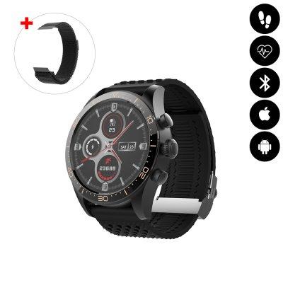 Montre connectée Bluetooth avec podomètre, mesure de fréquence cardiaque, suivi d'activité sportive IP68 noire avc braceletoff
