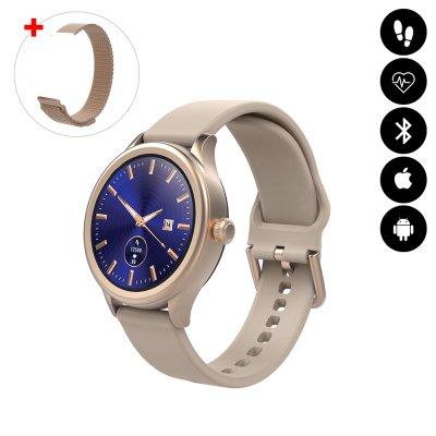 Montre connectée Bluetooth avec podomètre, mesure de fréquence cardiaque, suivi d'activité sportive IP68 rose gold avc braceletoff