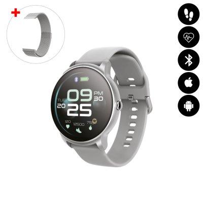Montre connectée Bluetooth avec moniteur de fréquence cardiaque,surveillance du sommeil, suivi d'activité argent avc braceletoff