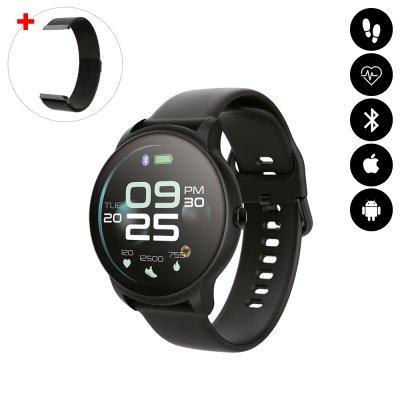 Montre connectée Bluetooth avec moniteur de fréquence cardiaque,surveillance du sommeil, suivi d'activité noir avc braceletoff