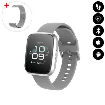 Montre connectée Bluetooth avec moniteur de fréquence cardiaque,podomètre,calories brûlées, contrôle de la musique argent