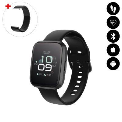 Montre connectée Bluetooth avec moniteur de fréquence cardiaque,podomètre,calories brûlées, contrôle de la musique noir
