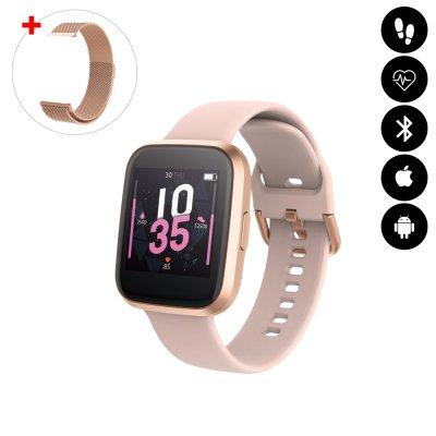 Montre connectée Bluetooth avec moniteur de fréquence cardiaque,podomètre,calories brûlées, contrôle de la musique rose gold