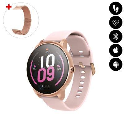 Montre connectée Bluetooth avec moniteur de fréquence cardiaque,surveillance du sommeil, suivi d'activité  rose gold