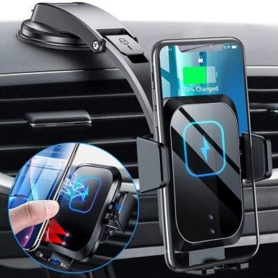 Support Téléphone Voiture pour tableau de bord de voiture avec charge à induction 15w avec bras ajustable - Noir