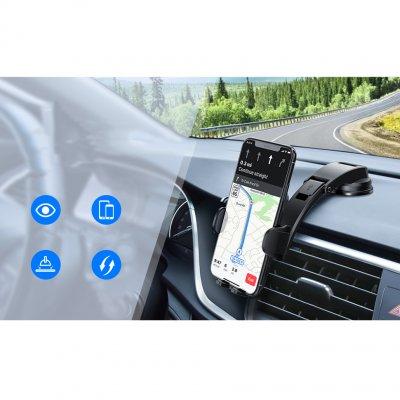 Support Téléphone Voiture pour tableau de bord de voiture avec bras ajustable - Noir