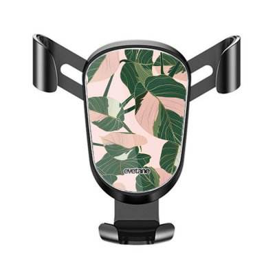 Support téléphone voiture Feuilles vertes et roses Motif Ecriture Tendance Evetane