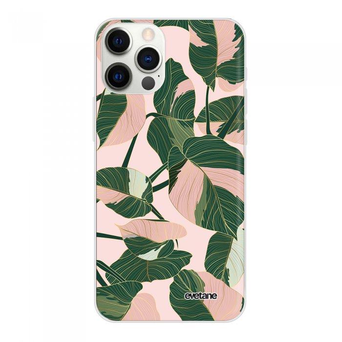 Coque iPhone 12 Pro Max 360 intégrale transparente Feuilles vertes et roses Tendance Evetane