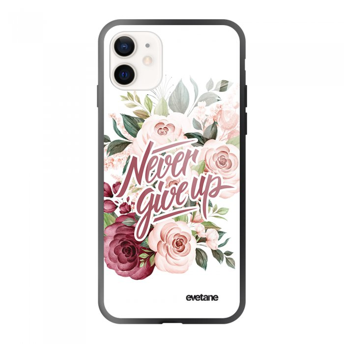 Coque iPhone 12 Mini soft touch effet glossy noir Never give up Design Evetane