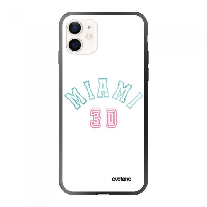 Coque iPhone 12 Mini soft touch effet glossy noir Miami 30 Design Evetane