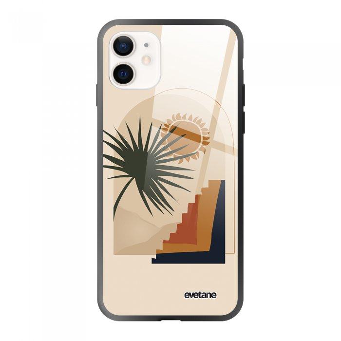 Coque iPhone 12 Mini soft touch effet glossy noir Palmier et Soleil beige Design Evetane