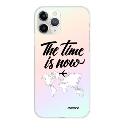 Coque iPhone 11 Pro silicone fond holographique The time is Now Design Evetane