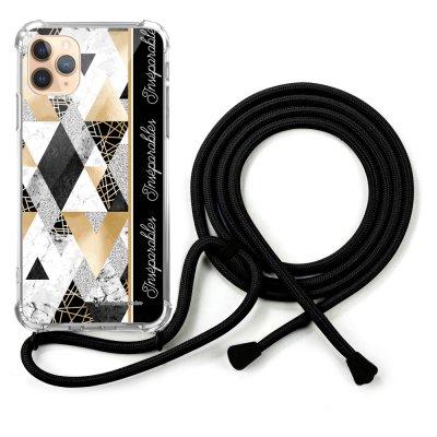 Coque cordon iPhone 11 Pro Max Dessin Marbre Noir Inséparables La Coque Francaise