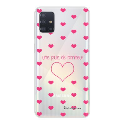Coque Samsung Galaxy A51 souple transparente Pluie de Bonheur Rose Motif Ecriture Tendance La Coque Francaise..