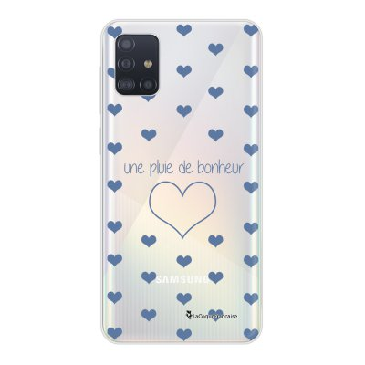 Coque Samsung Galaxy A51 souple transparente Pluie de Bonheur Lilas Motif Ecriture Tendance La Coque Francaise..