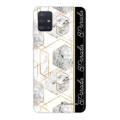 Coque Samsung Galaxy A51 souple transparente Marbre Noir Paradis Motif Ecriture Tendance La Coque Francaise..