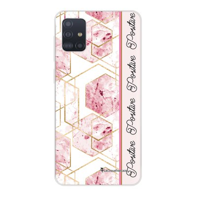 Coque Samsung Galaxy A51 souple transparente Marbre Rose Positive Motif Ecriture Tendance La Coque Francaise..