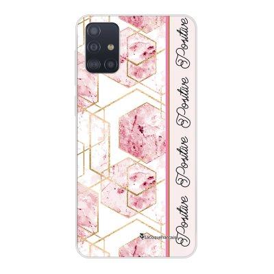 Coque Samsung Galaxy A51 5G souple transparente Marbre Rose Positive Motif Ecriture Tendance La Coque Francaise..