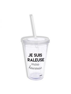 Mug transparent avec paille en plastique Raleuse Mais Heureuse
