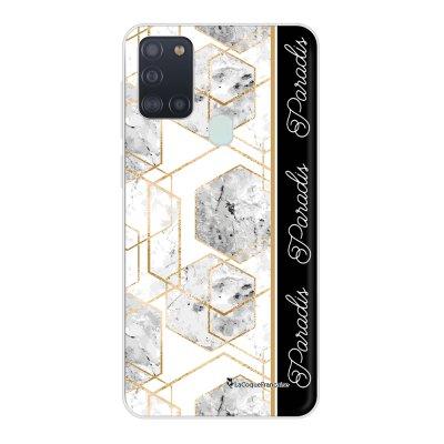 Coque Samsung Galaxy A21S souple transparente Marbre Noir Paradis Motif Ecriture Tendance La Coque Francaise..
