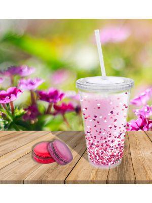 Mug transparent avec paille en plastique Confettis De Cœur