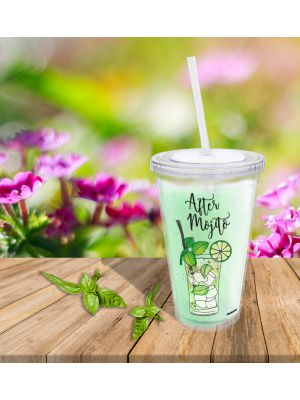 Mug transparent avec paille en plastique After Mojito