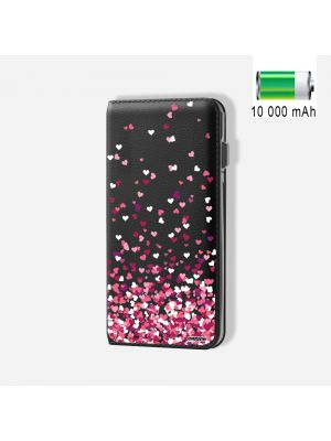 Batterie externe POWER BANK 10 000mAh Confettis De Cœur - Compatible Lightning & Micro USB