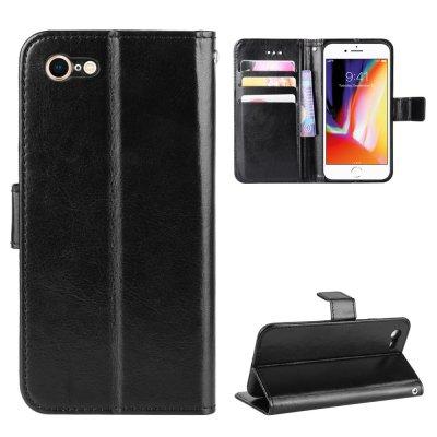 Etui Coque iPhone 7/8/SE 2020 Noir, Protection Housse Portefeuille Emplacement cartes , support dépliant Languette Magnétique