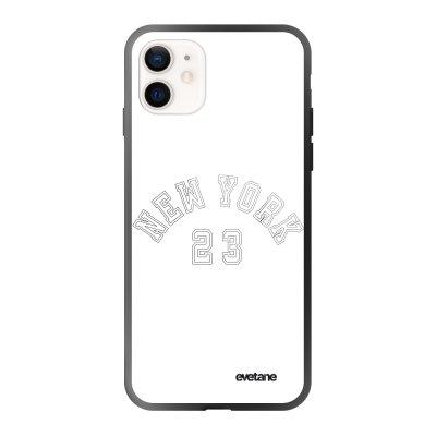 Coque iPhone 12 Mini soft touch effet glossy noir New York 23 Design Evetane