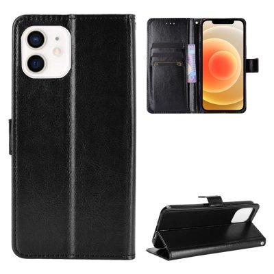 Etui Coque iPhone 12/12 Pro Noir, Protection Portefeuille Livre Emplacement cartes , support dépliant et Languette Magnétique