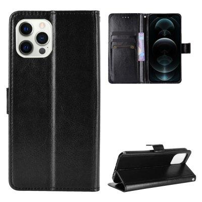 Etui Coque iPhone 12 Pro Max Noir, Protection Portefeuille Livre Emplacement cartes , support dépliant et Languette Magnétique