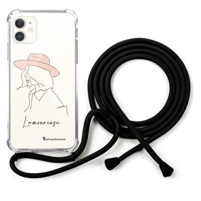 Coque cordon iPhone 11 noir Dessin L'amoureuse La Coque Francaise