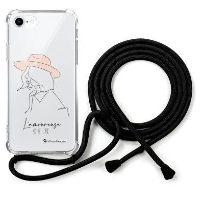 Coque cordon iPhone 7/8/ iPhone SE 2020 noir Dessin L'amoureuse La Coque Francaise
