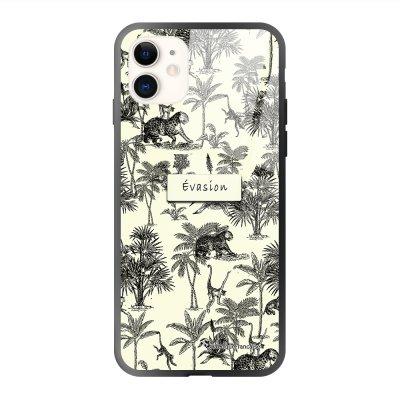 Coque iPhone 11 soft touch effet glossy Botanic Evasion Design La Coque Francaise