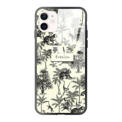Coque iPhone 12 Mini soft touch effet glossy Botanic Evasion Design La Coque Francaise