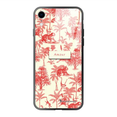 Coque iPhone Xr soft touch effet glossy Botanic Amour Design La Coque Francaise