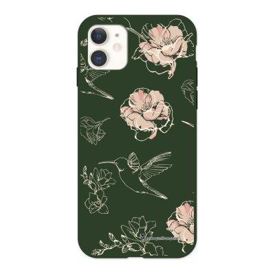 Coque iPhone 11 Silicone Liquide Douce vert kaki Fleurs Blanches La Coque Francaise.