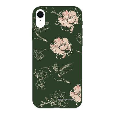 Coque iPhone Xr Silicone Liquide Douce vert kaki Fleurs Blanches La Coque Francaise.
