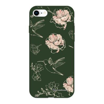 Coque iPhone 7/8/ iPhone SE 2020 Silicone Liquide Douce vert kaki Fleurs Blanches La Coque Francaise.