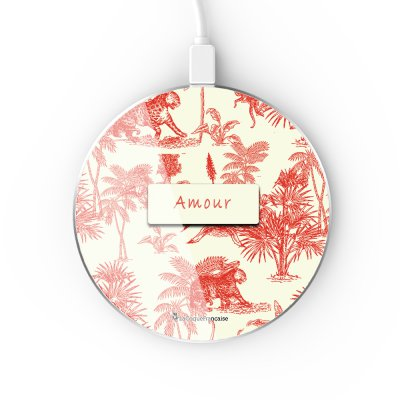 Chargeur Induction contour argent blanc Botanic Amour La Coque Francaise