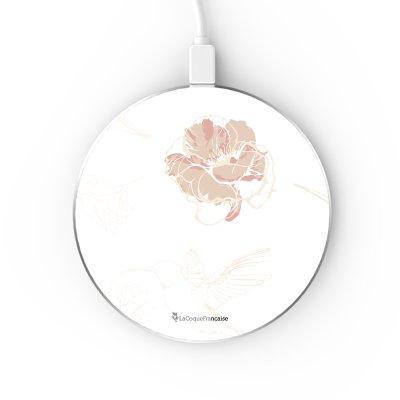 Chargeur Induction contour argent blanc Fleurs Blanches La Coque Francaise