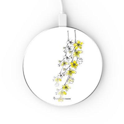 Chargeur Induction contour argent blanc Fleurs Cerisiers La Coque Francaise