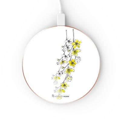 Chargeur Induction contour gold Fleurs Cerisiers La Coque Francaise
