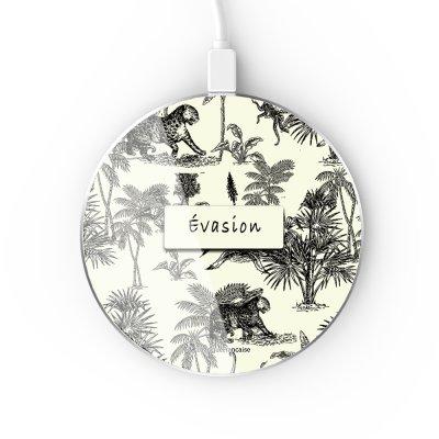 Chargeur Induction contour argent blanc Botanic Evasion La Coque Francaise