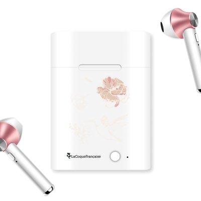 Ecouteurs Sans Fil Bluetooth Rose Gold rose gold Fleurs Blanches Ecriture Tendance et Design La Coque Francaise.