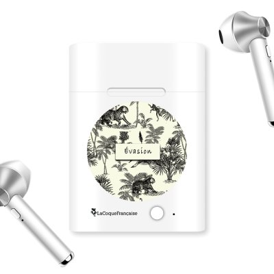 Ecouteurs Sans Fil Bluetooth Argent argent Botanic Evasion Ecriture Tendance et Design La Coque Francaise.