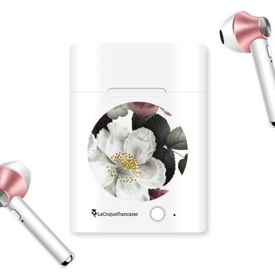 Ecouteurs Sans Fil Bluetooth Rose Gold Fleurs roses Ecriture Tendance et Design La Coque Francaise