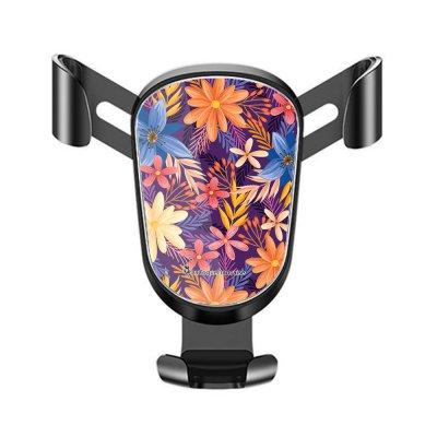 Support téléphone voiture Fleurs violettes et oranges Motif Ecriture Tendance La Coque Francaise