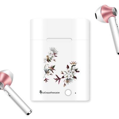 Ecouteurs Sans Fil Bluetooth Rose Gold rose gold Fleurs Sauvages Ecriture Tendance et Design La Coque Francaise.