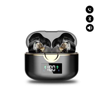 Écouteurs sans fil Bluetooth V5.0 réduction de bruit et  affichage HD LED Noir